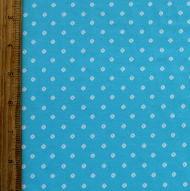 Tiny White Diamonds on Turquoise Blue Nylon Lycra Swimsuit Fabric