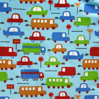 "Transportation on Blue Cotton Knit Fabric - 28"" Remnant"