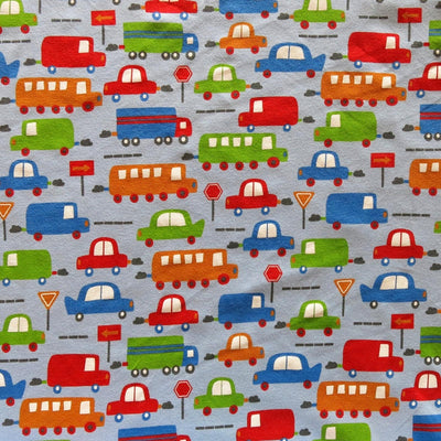 Transportation on Light Blue Cotton Knit Fabric