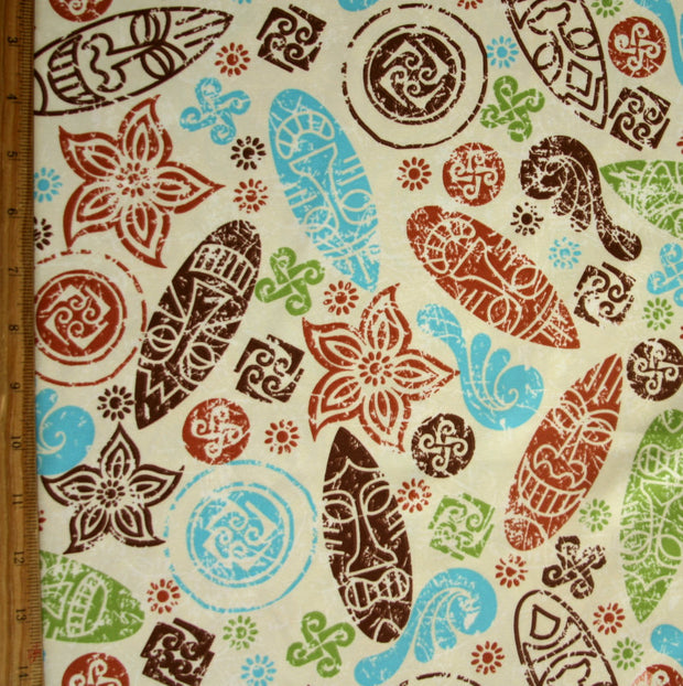 Tribal Masks and Symbols Microfiber Boardshort Fabric