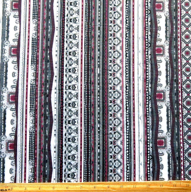 Grey/Berry Vertical Abtract Poly Spandex Swimsuit Fabric