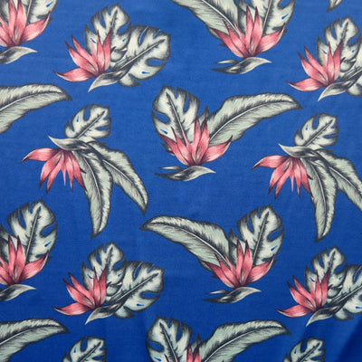 Tropical Plants on Royal Nylon Spandex Swimsuit Fabric