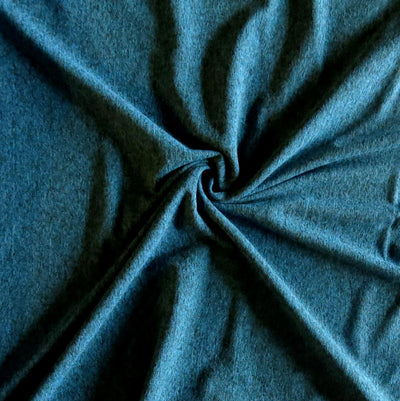 Teal/Black Marl Poly Spandex Jersey Knit Fabric