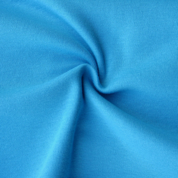 Turquoise Blue Cotton Rib Knit Fabric