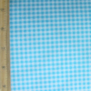 Turquoise and White Gingham Cotton Lycra Knit Fabric