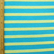 Turquoise Blue and Yellow Stripe Knit Fabric