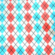 Turquoise and Coral Argyle Cotton Lycra Knit Fabric