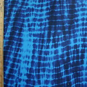 "Turquoise and Navy Tie Dye Nylon Spandex Swimsuit Fabric - 16"" Remnant"