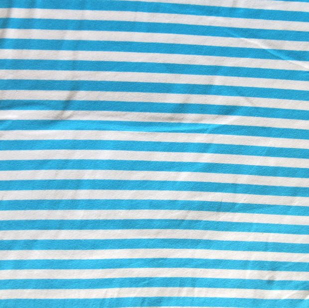 "Turquoise Blue and White 3/8"" wide Stripe Cotton Lycra Knit Fabric"