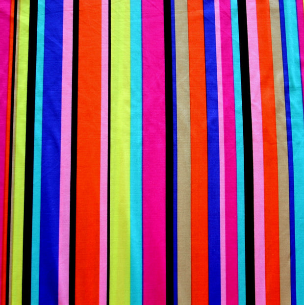 Vertical Rainbow Stripes Nylon Lycra Swimsuit Fabric