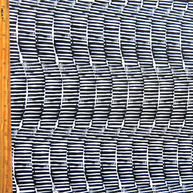 Vertical Wavy Black Stripes on White Nylon Spandex Swimsuit Fabric
