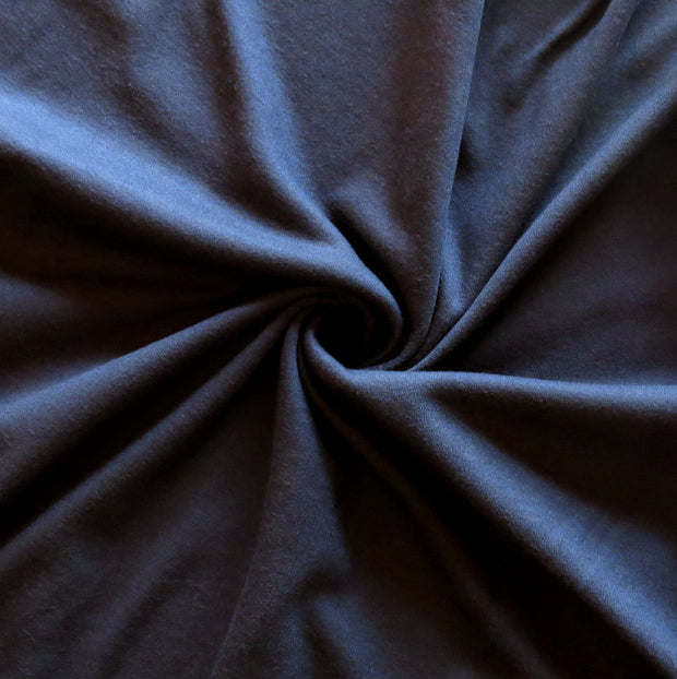 Very Dark Navy Cotton Interlock Fabric