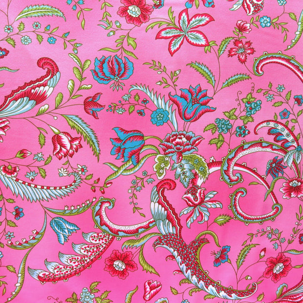 Viney Floral on Pink Nylon Spandex Swimsuit Fabric