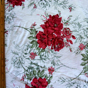 Vintage Red Roses Cotton Knit Fabric