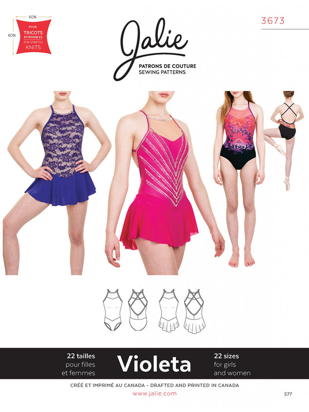 Violeta Open Back Leotard and Dress Sewing Pattern by Jalie