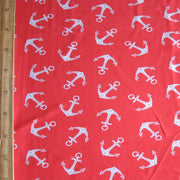 White Anchors on Coral Nylon Lycra Swimsuit Fabric