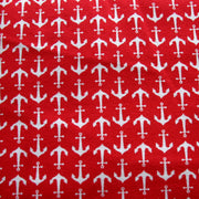 White Anchors on Red Cotton Lycra Knit Fabric by Riley Blake