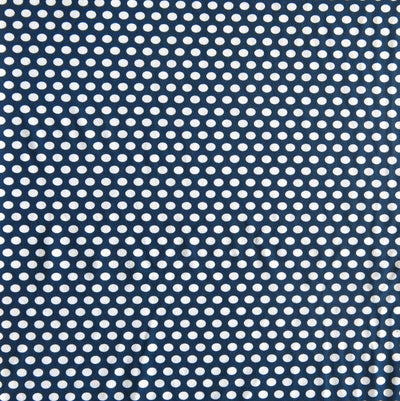 White Aspirin Polka Dots on Navy Nylon Spandex Swimsuit Fabric