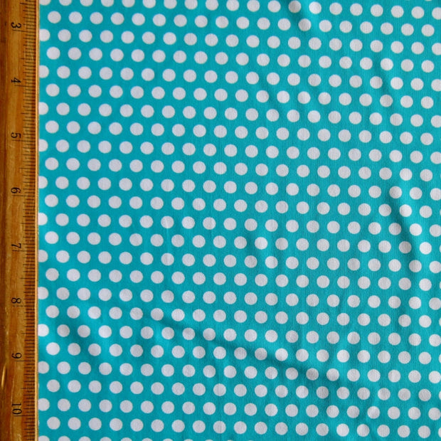 White Aspirin Polka Dots on Laribe Nylon Spandex Swimsuit Fabric