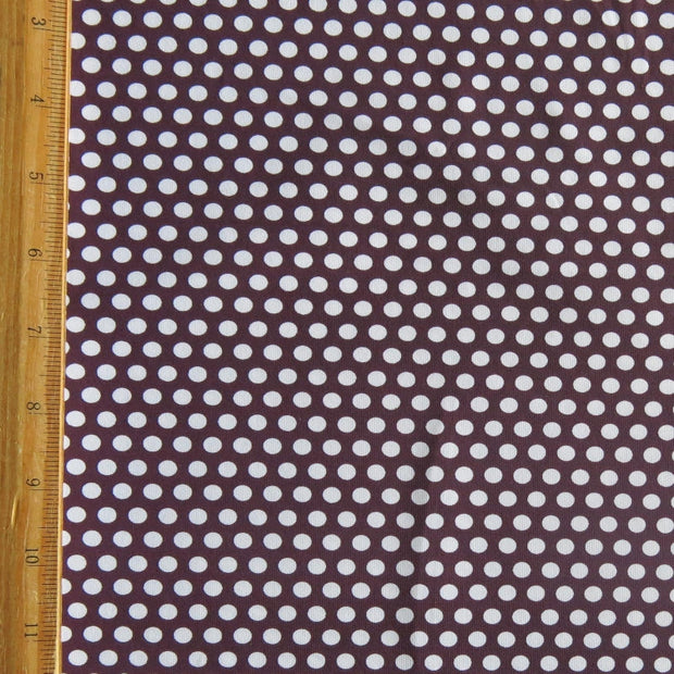 White Aspirin Polka Dots on Cherry Wine Nylon Spandex Swimsuit Fabric