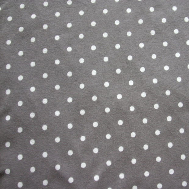White Eraser Polka Dots on Grey Cotton Lycra Knit Fabric