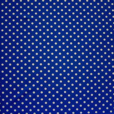White Aspirin Polka Dots on Royal Nylon Lycra Swimsuit Fabric