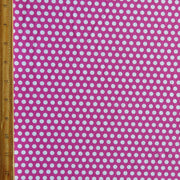 White Aspirin Polka Dots on Fuschia Nylon Spandex Swimsuit Fabric