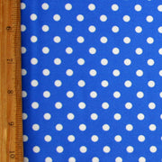 White Aspirin Dots on Royal Blue Nylon Lycra Swimsuit Fabric