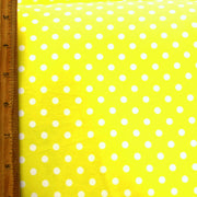 White Aspirin Polka Dots on Yellow Nylon Lycra Swimsuit Fabric