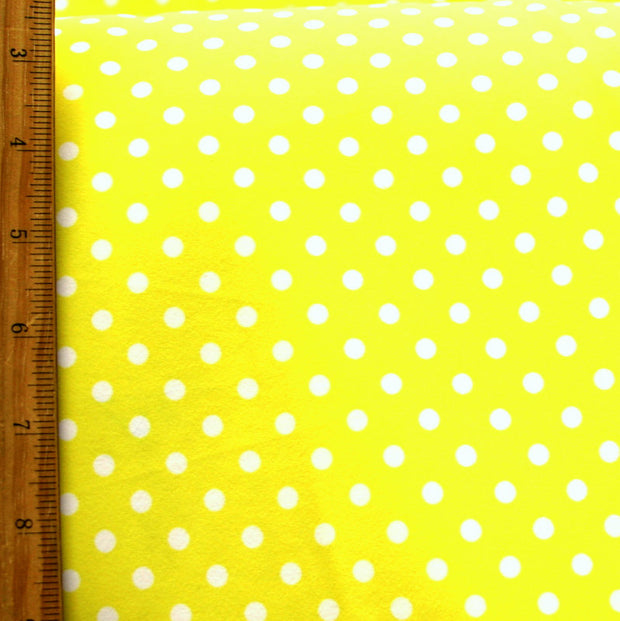 White Aspirin Polka Dots on Yellow Nylon Lycra Swimsuit Fabric - SECONDS - Not Quite Perfect