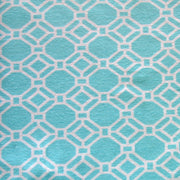 White Chainlink on Aqua Cotton Lycra Knit Fabric