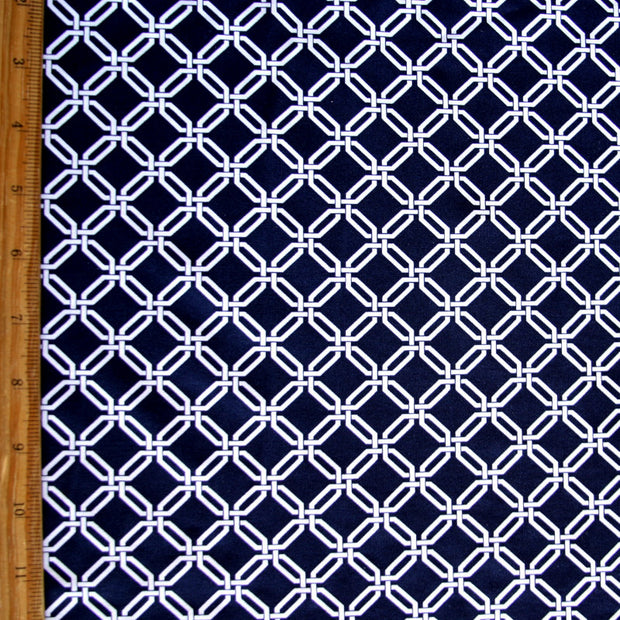 "Small White Chainlink on Navy Nylon Lycra Swimsuit Fabric -18"" Remnant"