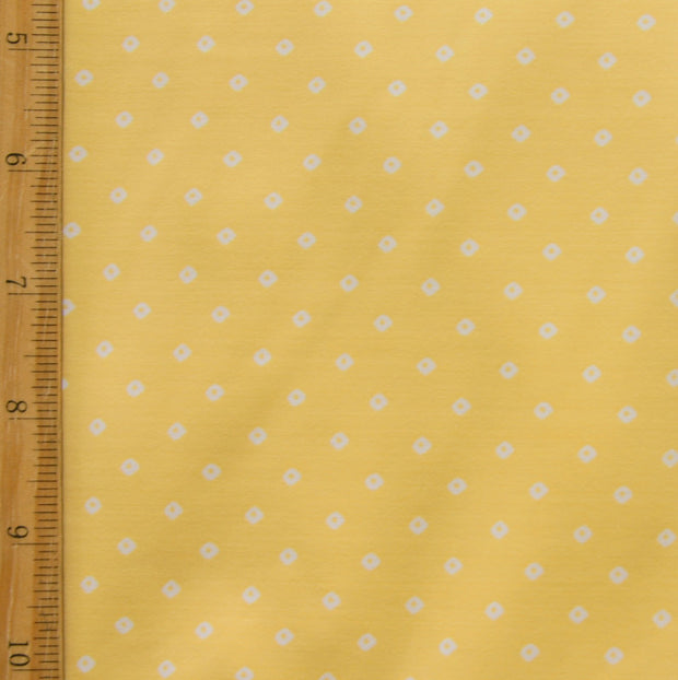"Tiny White Diamonds on Sunglow Yellow Nylon Lycra Swimsuit Fabric - 22"" Remnant Piece"
