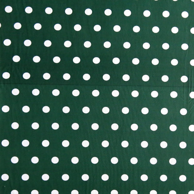 White Dime Sized Polka Dots on Hunter Nylon Spandex Swimsuit Fabric - SECONDS