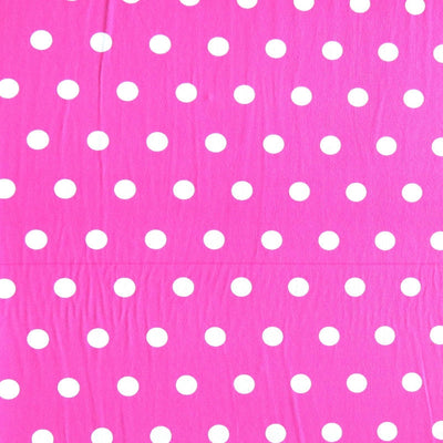 White Dime Sized Polka Dots on Jazzberry Pink Nylon Spandex Swimsuit Fabric - SECONDS