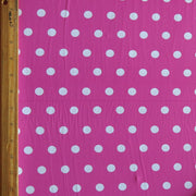 White Dime Sized Polka Dots on Fuschia Nylon Spandex Swimsuit Fabric - SECONDS