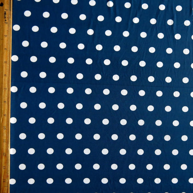 White Dime Sized Polka Dots on Navy Nylon Spandex Swimsuit Fabric - SECONDS