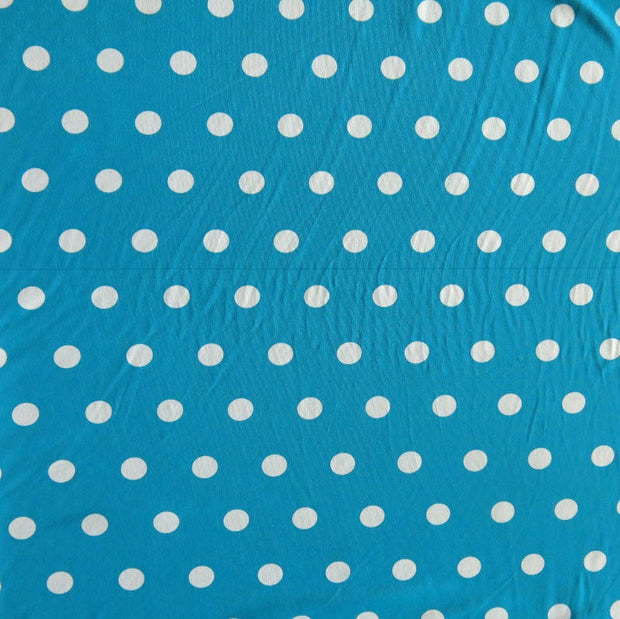White Dime Sized Polka Dots on Teal Nylon Spandex Swimsuit Fabric - SECONDS