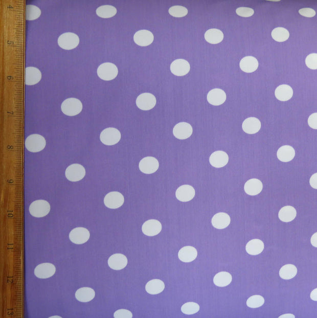 White Dime Sized Polka Dots on Purple Nylon Spandex Swimsuit Fabric