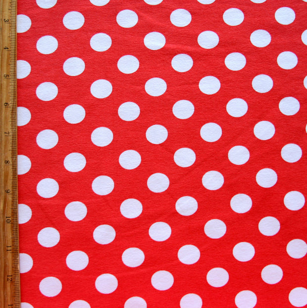 White Dime Sized Polka Dots on Red Cotton Lycra Knit Fabric