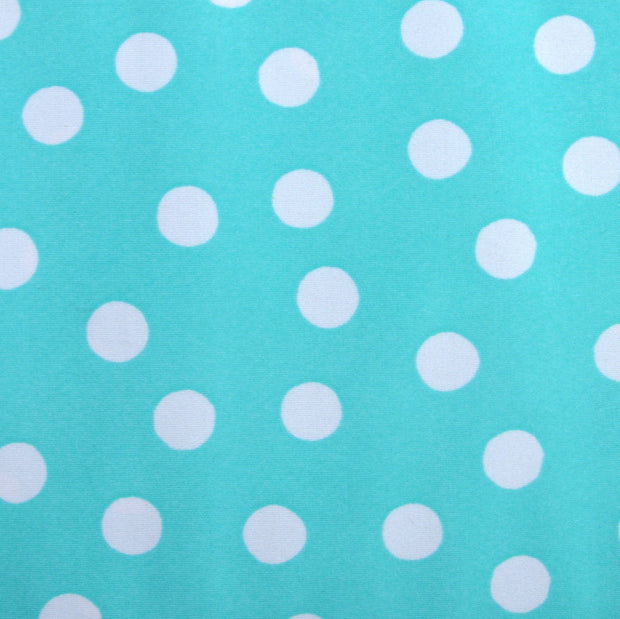 "White Polka Dots on Aqua Swimsuit Fabric - 21"" Remnant Piece"