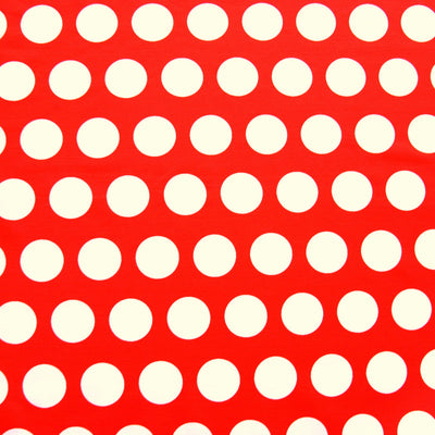 White Jumbo Dots on Orange/Red Nylon Lycra Swimsuit Fabric