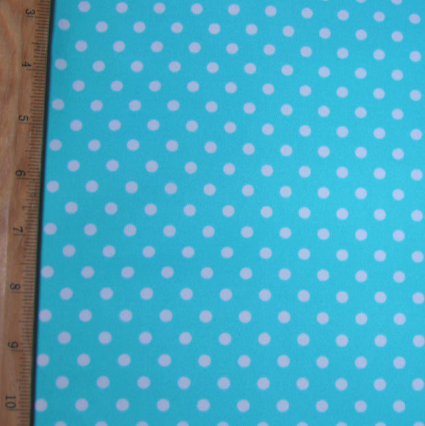 "White Eraser Polka Dots on Aqua Swimsuit Fabric - 34"" Remnant Piece"