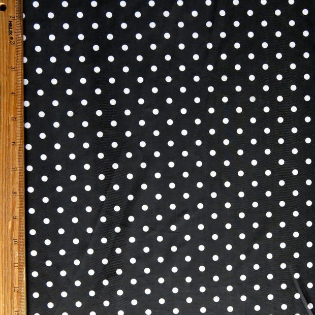 White Eraser Polka Dots on Black Nylon Spandex Swimsuit Fabric