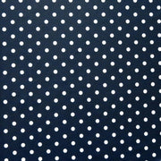 White Eraser Polka Dots on Navy Nylon Spandex Swimsuit Fabric
