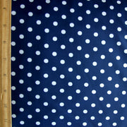 White Eraser Polka Dots on Navy Nylon Lycra Swimsuit Fabric