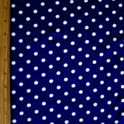 White Eraser Polka Dots on Navy Cotton Lycra Knit Fabric