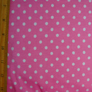 White Eraser Polka Dots on Pink Cotton Lycra Knit Fabric