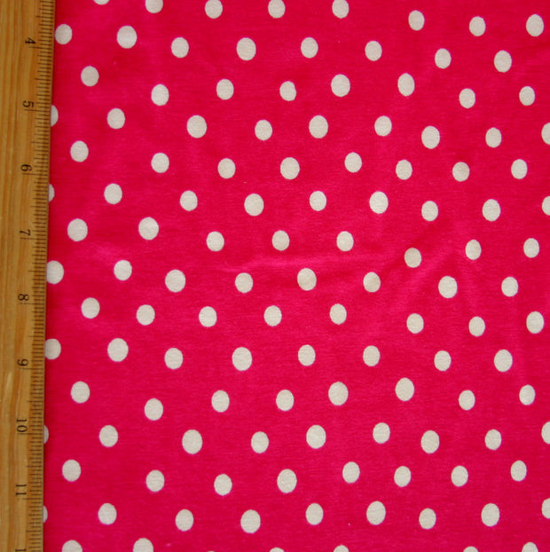 White Eraser Polka Dots on Dragon Fruit Red Cotton Lycra Knit Fabric