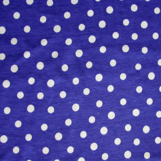 White Eraser Polka Dots on Purple Cotton Lycra Knit Fabric